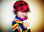 Women's Winter Hat red and black Plaid One Size