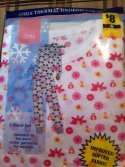 Girls Thermal Underwear Set -White W Flowers Size: 14/16(2P)